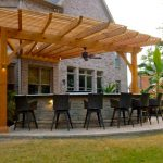 outdoor patio with bar
