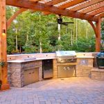 outdoor grill with brick patio