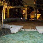 stone patio at night