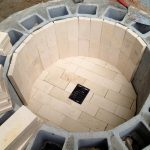 firepit being built with bricks