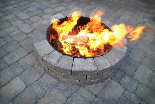 firepit with burning logs