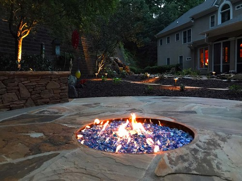 blue firepit in backyard