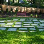 brick patio and purple bench