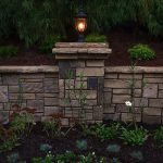 stone wall and outdoor light