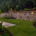 outdoor lighting and stone wall