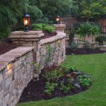 stone wall with lighting