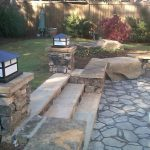 stone patio with stairs