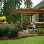 pergola with shrubs and pinestraw