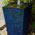 blue water fountain