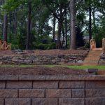 brick retaining wall in backyard