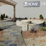 firepit with stone wall and pergola