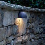 outdoor lighting on stone wall